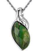 Stainless Steel Leaf and Multi-Faceted Green Crystal W. Sparkling Sand Women's Pendant Necklace- G2018ZS6