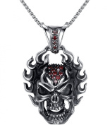 Stainless Steel Gothic Fiery Skull W. Dark Red Cubic Zirconia Pendant Necklace, Round Link Chain- G2025BX5