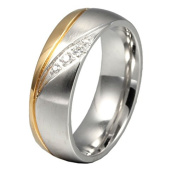 UM Jewellery His and Hers Rhinestone Stainless Steel Couples Ring Silver Gold Two Tone Band