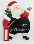 Countdown To Christmas Santa Wall Hanging Plaque Chalkboard Chalk Xmas