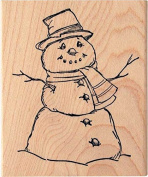 Traditional Winter Snowman Wood Mounted Rubber Stamp by Art Impressions