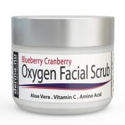 Derma-nu - Oxygen Facial Scrub - Blueberry Cranberry Anti Oxidant Face Exfoliating Scrub - With Aloe Vera, Vitamin C and Amino Acids - 60ml