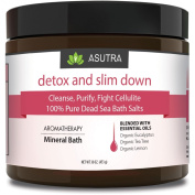 """""""DETOX & SLIM DOWN"""" - Cleanse, Purify & Fight Cellulite - 100% PURE DEAD SEA BATH SALTS / Rich In Vital Healing Minerals / Aromatherapy /Organic Essential Oils of Eucalyptus, Tea Tree and Lemon - 470ml"""