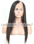 Chantiche Brazilian Silk Straight U Part Lace Front Wigs 100% Remy Human Hair Wigs For Women Very Ntuaral Looking Left Part 130 Density Medium Size Cap Medium Brown Lace 41cm #1B