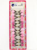 Tara Girls Twinbead Bubble Ponytail Holders - Shades Of Pink - 12 Pcs.