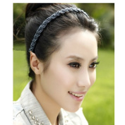 Handmade Weave Hairband Use Crystal Beaded and Fishing Line(navy) + Free Top-ishop Cable Tie