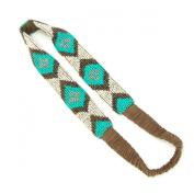 Jane Tran Southwest Mosaic Headband in Turquoise Seed Bead Mix