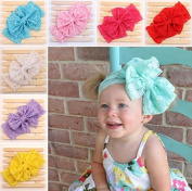 ACELIST 7 Pieces Baby's Headbands Girl's Cute Hair Bows Lace Hair Bands Newborn Headband