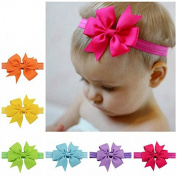 7 Pieces Baby's Headbands Girl's Cute Hair Bows Hair Bands Newborn Headband