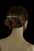 Bridal Tiara Hair Comb Silver Rhinestone Single Row