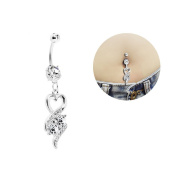 Oasis Plus Heart Clear Crystal Navel Ring Dangle Belly Button Rings Hoop Body Glitter Surgical Steel Piercing Jewellery