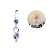 Oasis Plus Heart Blue Crystal Navel Ring Dangle Belly Button Rings Hoop Body Glitter Surgical Steel Piercing Jewellery