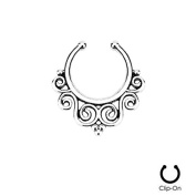 Oasis Plus 16g Silver Tribal Swirl Clip On Septum Fake Nose Ring Hoop Non Piercing Hanger Nose Rings Stud Body Jewellery