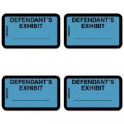 TAB58093 - Legal Exhibit Labels, Defendant, 1-5/8x1, Blue 252 Labels, 4 Packs