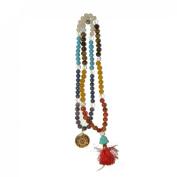 Odishabazaar Seven Chakra Unknoted Japa Mala 108 Count + Buddha Head Guru Bead with Swastik Pendant - Balanced Emotion Aligned Chakras