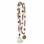 Odishabazaar Crystal Rudraksha Hand Knotted Japa Mala 108+1 Guru Bead with Swastik Pendant - Strengthens the Energy