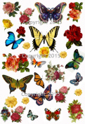 Vintage Butterflies and Flowers Collage Sheet Art Images for Decoupage, Scrapbooking, Jewellery Making
