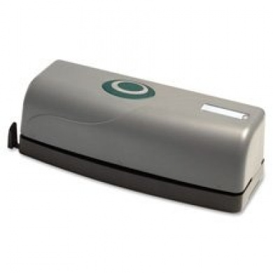 3-Hole Punch, Battery/Elec, Antimicrobial, 15 Sht Cap, BK/GY, Sold as 1 Each