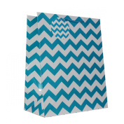 12-PC Chevron Gift Bags, Gloss Laminated, Blue, Large