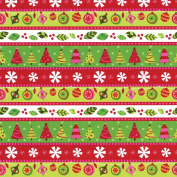 Entertaining with Caspari Continuous Roll of Gift Wrapping Paper, Calico Christmas, 2.4m, 1-Roll