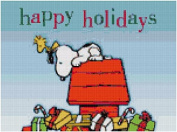 Peanuts Snoopy Happy Holidays Counted Cross Stitch Pattern