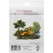 C.C. Designs DoveArt Gone Fishing Cling Stamp, 12cm x 8.9cm