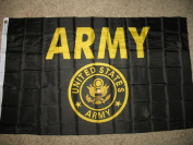 3x5 US Army Seal Gold Crest Black Flag 0.9mx1.5m Banner Brass Grommets