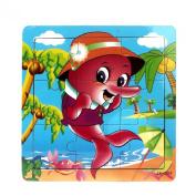 Doinshop Kids Wooden Education Jigsaw Puzzle Toys Gift 9 Pieces Floor Puzzle