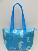 Reusable Lunch Bag Insulated Lunch Tote Bag - Seahorse Sky Blue