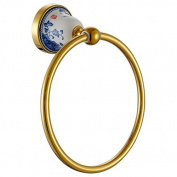Cloud Power Wall-mounted Towel Rings Brass Towel Rings Holder With Towel Rings For Bathroom Titanium With Blue-White Porcelain Decorated