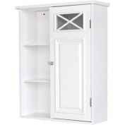 Prairie Wall Cabinet with Side Shelves and Door, White, Blend of Contemporary and Old World Design