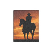 100cm x 130cm (Small) Cotton Blankets and Throws with Sunset Cowboy and Horse Theme