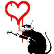 "imagenation Banksy - Love Rat - Framed Canvas Art Print : Size - 18CM X 18CM X 3CM DEPTH / 7"" X 7"" X 1"""
