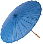 Luna Bazaar Paper Parasol (80cm , Cornflower Blue) - Chinese/Japanese Paper Umbrella - For Weddings and Personal Sun Protection