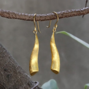 Sterling Silver Wave Dangle Earrings Gold Plated