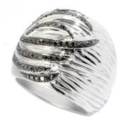 V3 Jewellery Sterling Silver 1/2ct TDW Black Diamond Wide Band Ring