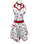 Lady Lovely Princess White Aprons Sweetheart Cotton Apron with Pockets for Woman Cooking Kitchen