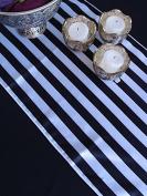 Striped Pattern Table Runner - Black