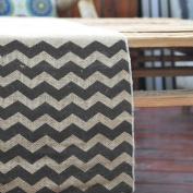 Vintage Burlap Table Runner w/ Black Chevron Pattern