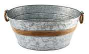 Cambridge Silversmiths Shiloh Galvanised and Rope Beverage Tub, Stainless Steel