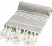 Hand Loomed Turkish Towel Pestemal Soft Cotton by Cacala Grey