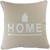 "Decorative White Sequins HOME Symbol Floral Throw Pillow Cover18"" White/Beige"