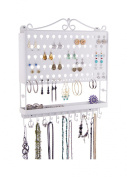 Wall Mount Jewellery Organiser Earring Holder Necklace Storage Rack Display - 4 colour OPTIONS