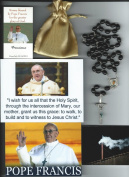 Saint Gerard Relic Rosary Blessed by Pope Francis at 1st Mass Given by Him at Vatican's Sistine Chapel also Includes Photographs of Mass & of the Conclave the Day Before 50cm L with Black Wooden Beads Patron of Mothers