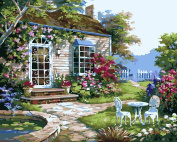 Wooden Framed Paint By Number No Mixing / No Blending Linen Canvas DIY Painting - Front Garden
