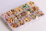LifeGlow Art™ 225pcs Mixed Wooden Buttons in Bulk Buttons for Sewing and Crafting Round Colourful Painting Buttons with Storage Case