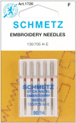 Euro-Notions Embroidery Machine Needles, Size 14/90, 5 Per Package