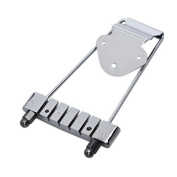 DN Chrome 6 String Tailpiece For Electric Guitar 3 Hole Mounting Plate