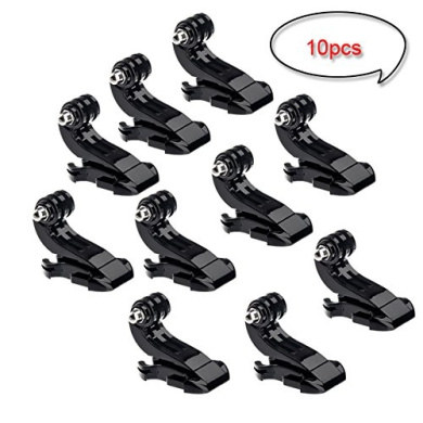 10 Pcs J-Hook Buckle Vertical Surface Mount Adapter Accessories Helmet Chest Belt for GoPro Hero 1 2 3 3+ 4 Hero4 Session Camera