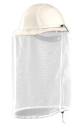 Insect Net for hard hats or ballcaps with Drawstring White 43cm long